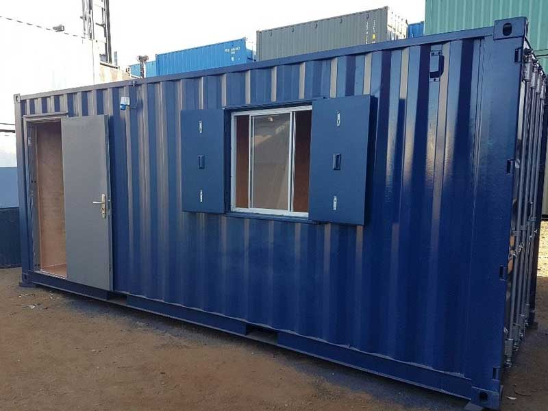 Container modified into an office